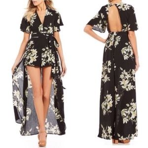 Floral Walk Through Romper Maxi
